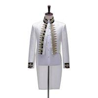 Trajes para hombres blazers hombres blazer retro europeo jacquard blanco príncipe príncipe chaqueta realizando escenario drama banquete desgaste navidad