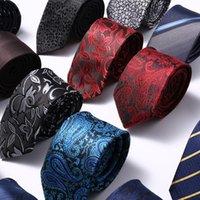 Moda Ince Skinny 6 cm Kravatlar Klasik erkek Şerit Ekose Çiçek Şarap Mavi Düğün Bağları Jakarlı Dokuma 100% Ipek Erkekler Boyun