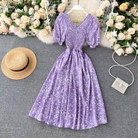 Casual Dresses SINGRAIN Elastic Ruched Floral Dress Women Summer French Sweet V Neck Puff Sleeve A-line Boho Print Holiday Beach Sundress