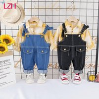 Clothing Sets LZH 2021 Spring Long Sleeve Lapel Plaid Shirt Denim Overalls Suits Fashion Kids Cute For Girls Baby Boy Outfit