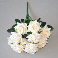 12 Kafaları Yapay Gül Çiçekler Buket Ipek Güller Ev Gelin Düğün Parti Festivali Dekor Için Şampanya Ve Pembe GGA4357