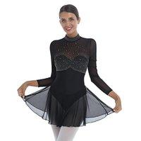 Bühne tragen Frauen Strass Backless Gymnastik Figur Skating Dance Röcke Trikot Kleider Durchsichten Mesh Patchwork Ballroom Latin Kleid