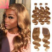 Human Hair Bulks Body Wave Bundles With 4X4 Lace Closure 160% Density Blonde Brazilian Extension Ponytail 4