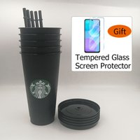 Starbucks Plastic Tumbler24oz 710ml Reusable Drinking Flat Bottom Cup Pillar Shape Lid Straw Mug Tempered Glass Screen Protector as gift