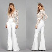 Long Sleeve Bohemian Wedding Jumpsuit Dress Lace Stain V-neck Keyhole Back Beach vestido de novia Bridal Gown with Pant Suit