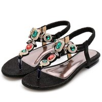 Ladies Rhinestones Sandals Summer Beach Slippers For Women Flip Flops Crystal Sliders Casual Shoes