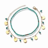 Anklets Double Chain Anklet Green Stone Sequins Tassel Chains Ankle Bracelet For Women Foot Jewelry Summer Barefoot Beach Tornozeleira