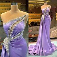 2021 Lavender Evening Dress Beaded Sheer Jewel Neck Satin Sleeveless Mermaid Prom Dresses Custom Made Formal Vestidos De Fiesta