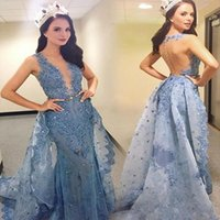 2021 Dresses Evening Wear with Over Skirts Appliques sky blue Miss USA Sheer Sheer back Latest Party Pageant prom Gowns
