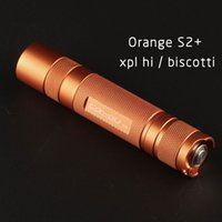 orange S2+ flashlight, with XPL HI led inside and ar-coated glass,biscotti firmware 210322