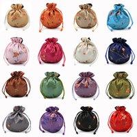 11X13cm Embroidery Satin Drawstring Bag Silk Brocade Pouches Damask Jewelry Sachet Christmas Wedding Gift Bolsa 121