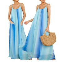 Maternity Dresses Spaghetti Sling Dress Summer Loose Long Skirt With Pockets Gradient Rainbow Beach Quality