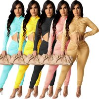 Autumn Womens Tracksuits Sexy 2 Two Pieces Outfits Drawstring Pleated Long Sleeve Top Pants Suits Skinny Legging Streetwear Plus Size