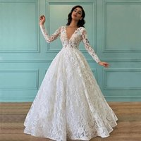 Charming Full Lace Wedding Dress Deep V Neck A Line Long Sleeves Garden Country Bridal Gowns Party Dresses Sweep Train Plus Size robe de mariée