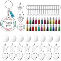 Key Rings 72 Pieces Acrylic Transparent Discs,blanks Charms and Tassel Pendants, Keyring with Chain for Diy Crafts Jewelry Making