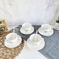 مجموعة القهوة السيراميك الكورية الأوروبية طبق بسيط ملعقة مجموعة الشاي المنزلية cupc38p