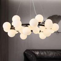 Pendant Lamps Nordic Living Room LED Hanging Lights Modern Creative American Chandelier Glass Ball Restaurant Iron Lamp ZM1114