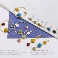 Stud 50pcs lot Handmade Color Round Shape Alloy Drop Oil Charms Diy Jewelry Fahion Women Earrings Pendants Accessory
