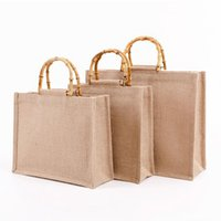 Storage Bags Portable Burlap Jute Shopping Bag Handbag Bamboo Loop Handles Tote Retro DIY Women Big Size Beach For Girls