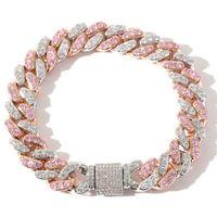 New European And American Hip Hop Bracelet 12mm Micro Inlaid Pink Zircon Cuba Chain Bracelet Hip Hop Accessories