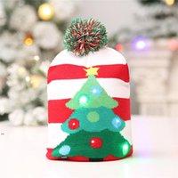 Светодиодные рождественские вязаные шапки дети детские мамы зима теплые шапочки шапочки крючком для тыквы снеговики фестиваль праздник декор подарок OWA7711