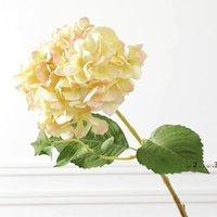 Newartificial Hydrangea Flower Bridal Bouquet Head Fake Seda Soltero Real Touch Hydrangeas para Centros de Boda Piedras Inicio Flores EWE5100