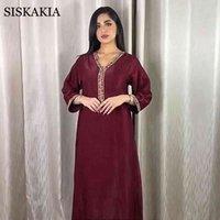 Siskakia Jalabiya с длинным рукавом платье для женщин Осень Новый Дубай Абая мода алмазная лента V шеи мусульманский арабский халат 210323