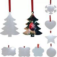 Sublimatie Blanco Kerst Ornament Dubbelzijdig Xmas Tree Hanger Multi Shape Aluminium Plaat Metalen Opknoping Tag GWB10672