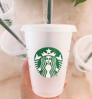 Starbucks 16 oz / 473 ml Plastik Tumbler Kullanımlık Temizle İçme Düz Alt Kupası Sütun Şekli Kapak Saman Kupa Bardian 5 adet Shipp
