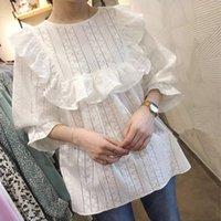 Women's Blouses & Shirts 2021 Autumn Womens Tops And Hollow Out Embroidery Loose Shirt Ruffles White Sweet Lace Blouse Blusas Arrival 15889
