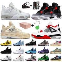 Nike Air Jordan retro 4 Travis scott 4 4s OFF White SAIL أعلى جودة رجل إمرأة أحذية كرة السلة المحكمة بيربل ولدت FIBA أسود القط المدربين أحذية رياضية