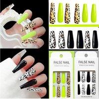 24Pcs Set Black Leopard Print Fake Nails Extra Long Coffin False Nail Elegant Shiny Fluorescent Acrylic fulll cover Nail Tips Manicure
