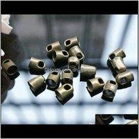 100pcs lot trous 4mm bronze or en métal métal bouchons de cordons de cuir Cordons de cuir pour bijoux de bricolage raccords connecteurs F1760 YZHWG WGE3V