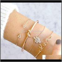 Other Bracelets Jewelry Drop Delivery 2021 Love Letter Cactus Knot 4-Piece Triangle Diamond Hand Set Bracelet Plmiy