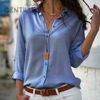 Gentillove Zarif Uzun Kollu Boy Katı V Yaka Şifon Bluz Yaz Kadın Tops Kadın Ofis Gömlek Rahat Düzenli