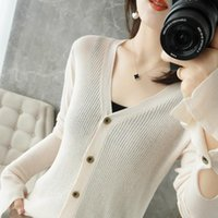 Women's Knits & Tees 2021 Spring Pure Wool Cardigan Thin Knit Sweater Top Slim Wild Large Size Long-Sleeved Fashion Short V-Neck Jacket