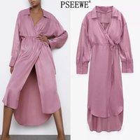 Pseewe za платье розовый сатин длинное платье женщин элегантный весна с длинным рукавом связанные платье платье женщины нерегулярные поютные платья 210325