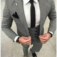 Повседневная клетчатая клетчатка элегантный свадебный костюм для мужчин 3 чашки (куртка + брюки + жилет + галстук) мода на заказ костюмы смокинг