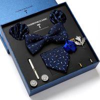 Bow Ties Men's Tie Set Luxury Gift Box Silk Necktie For Men 8pcs Inside Packing
