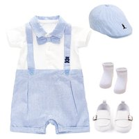 Baby Rompers Boys Bodysuits Newborn Clothes Summer Short Sleeve Infant Jumpsuit One Piece Clothing Hats Socks Shoes 4Pcs Sets Toddler Outfits B7187