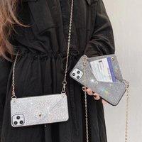 Sac à main strass cas de téléphone pour iPhone 12 Mini 11 Pro Max XR x 8 plus 7plus Huawei Mate40 Nova 7 SE P40 Couverture de portefeuille de luxe