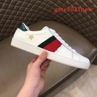 Yüksek Kaliteli Şerit Erkek Kadın Rahat Ayakkabı ACE Arı Yılan Tiger Işlemeli Erkek Gerçek Deri Tasarımcı Sneakers Kadın Adam Ayakkabı Boyutu 35-46 Gate2021New