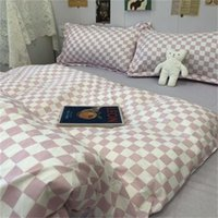 Bedding Sets Checkerboard Plaid Nordic Set Duvet Cover Pillowcase Bed Sheet Single Double Queen King Covers Simple