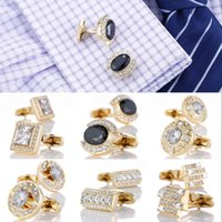 Luxury Gold Cufflinks with Crystal Wedding French Shirt Cuff links Sleeve Buttons Mens Jewelry Accessories Design Cuffs