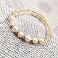 Big Pearl 7-8 мм-маленький 6-7 мм натуральный пресноводный культивированный медный кольцевой браслет красивые украшенные аксессуары браслеты