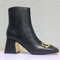 Высочайшее качество моды роскошь каблуки женские загрузки квадратных пальцев натуральная кожаная кнопка на высоком каблуке грубый каблук 7.5см обувь леди обувь большой размер US11 35-41 Wome