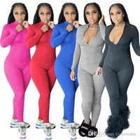 2021 Winter Women Jumpsuits Desinger Long Sleeve Invisible Zipper Sexy V-Neck Slim Pleated One-piece Pants