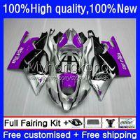 Body de moto pour Aprilia RSV1000R Mille Purple Silver RSV 1000 R 1000R 03 04 05 06 COWLING 9NO.61 RSV1000RR RV60 RSV-1000 RSV1000 R RR 2003 2004 2005 Kit de carénage 2006