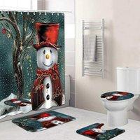 Счастливого Рождества Душевая Занавеска Ванная Комплект Снеговика Санта Отец Узор Водонепроницаемый Туалет Крышка Туалет Коврик Нескользящий KKB7462