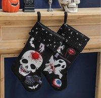 파티 할로윈 스타킹 뼈대 패턴 인쇄 양말 벽난로 펜던트 공포 유령 가방 축제 파티는 친구를위한 선물을 제공합니다